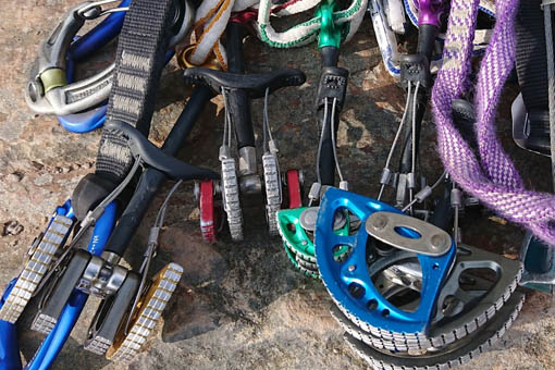 A small image showing a selection of climbing equipment