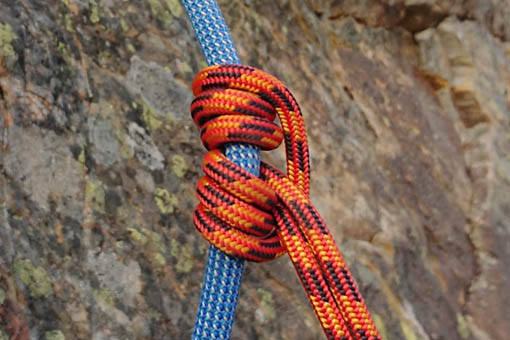 A small image of a prusik wrapped around a rope