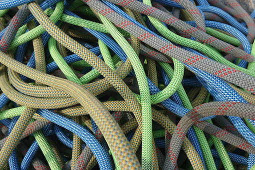 A small image showing a bundle of climbing ropes