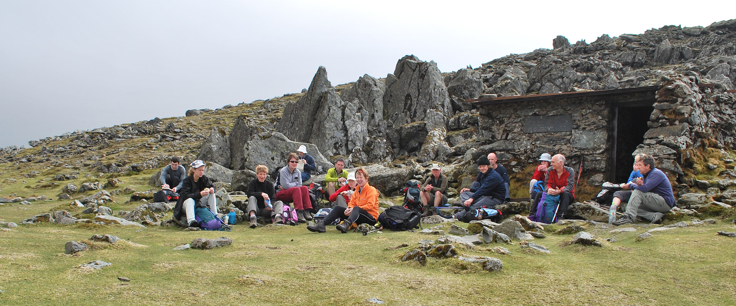 Stopping for Lunch on the Summit of Foel Grach