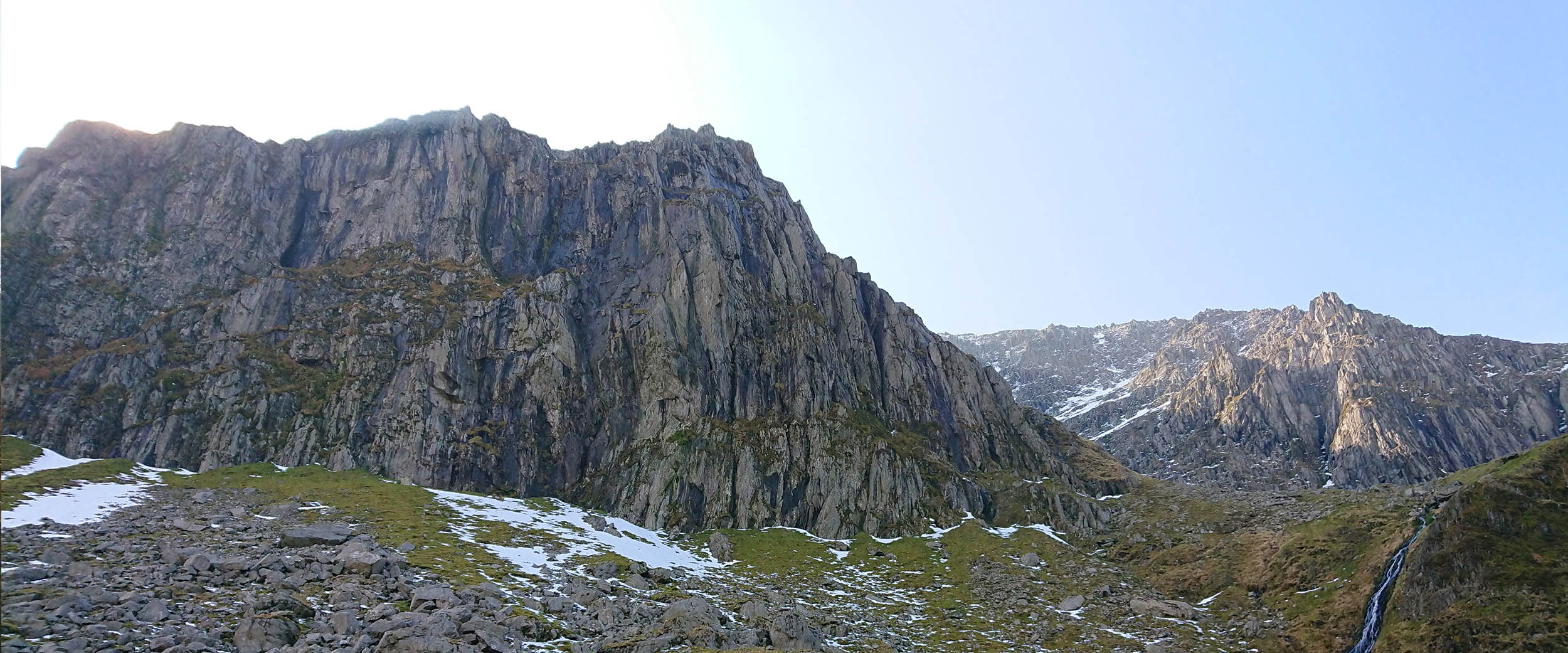 Llech Ddu, an imposing dark cliff